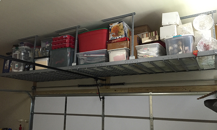 Garage shelving racks ideas photos midlands storage for Over car garage storage