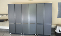 Graphite grey pantry provides a lot of storage.
