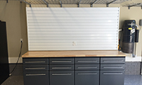 Cabinets, storeWALL and low profile shelving provides a great amount of work space and storage.
